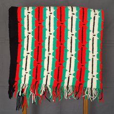 Vintage Crochet Southwestern Afghan w/ Fringe by PinkFlyingPenguin