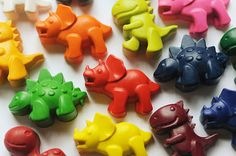 DIY favors for a dinosaur party: Melt crayons in a silicone mold and put them in plastic Easter eggs. Hunting for them can even be one of the party activities.