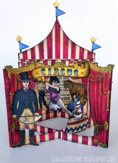Stamptramp: Karen Burniston Designer Challenge - Artsy Take Two. Card was created by modifying Karen Burniston's Accordion Rectangle die to create a tunnel book/card. Rubber stamps from Oxford Impressions were colored with Spectrum Noir markers and adhered to the panels to create a circus scene.