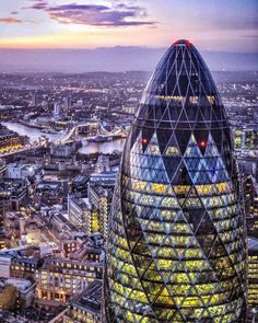 30 St Mary Axe often called 'The Gherkin' is an iconic feature in the London Skyline and one of the City's most widely recognised pieces of contemporary architecture. My favourite!
