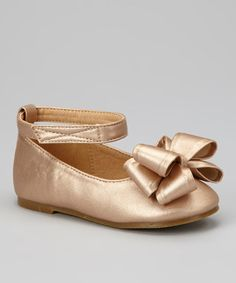 Take a look at this Champagne Stella-101 Ankle Strap Flat by Festive Finery: Kids' Shoes on @zulily today!