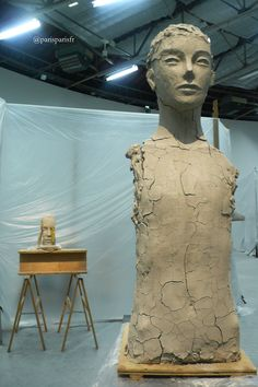 Inside, Palais de Tokyo. Mark Manders, Room with Unfired Clay Figure, 2014.