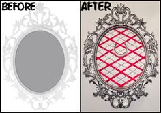 IKEA Ung Drill frame re-do red ribbon, rhinestone rope, horse shoe, silver spray paint, remove glass  http://m.ikea.com/us/en/catalog/products/art/60232813/