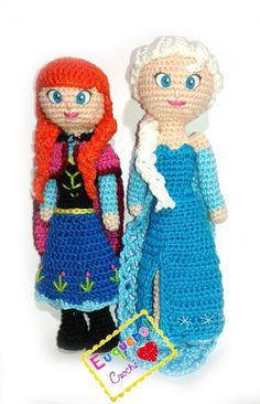 Princesas Anna e Elza feitas em crochê M