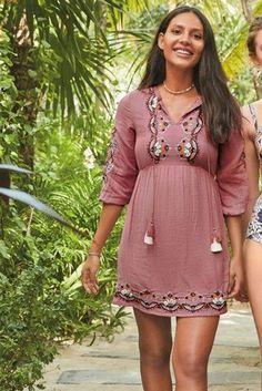 f098fb99a1 Blend in with the beach vibes with this pink shell embroidered cover-up -  holiday