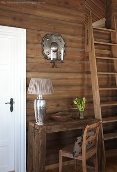 Building A Cabin, Tiny Cabins, Cabin Interiors, Log Homes, Ladder Decor, Living Spaces, Dining Table, Rustic, Furniture