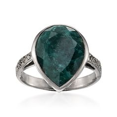 Rough-Cut Emerald and Diamond Ring In Black-Rhodiumed Sterling Silver Yes want so bad!! My birthstone.