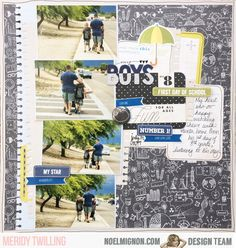 """Hello, it's Meridy here today. I have one more """"first day of school"""" layout to share with you using the """"Study Guide"""" Daily Diary Kit and. 12x12 Scrapbook, Scrapbooking, Daily Diary, Multi Photo, He Day, First Day Of School, Love Him, Layouts, Study"""
