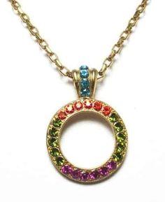 Mariana Gold Plated Tiger Lily Swarovski Crystal Circle Pendant Necklace