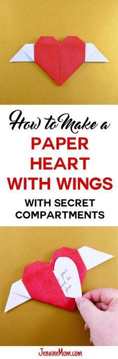 DIY Paper Winged Heart | Origami | Secret Compartments | JenuineMom.com