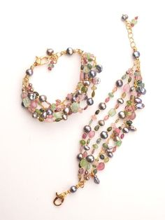 Materials: Watermelon Tourmaline, Peacock Pearls Metal: Sterling Silver or 22KT… #jewelrymakingmetals