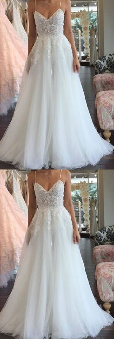 Copy of A Line Spaghetti Straps V Neck Floor Ivory Tulle Beach Wedding Dress with Appliques - Hochzeit und Braut 2019 Spagetti Strap Wedding Dress, V Neck Wedding Dress, Luxury Wedding Dress, Perfect Wedding Dress, Spaghetti Straps, Beach Wedding Gowns, Wedding Gown A Line, Tulle Wedding Gown, Applique Wedding Dress