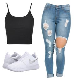 """Untitled #19"" by sunset14blvd ❤ liked on Polyvore featuring Topshop and NIKE"