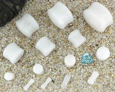 White cloudy quartz stone plug BAF
