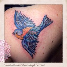 Todays tattoos: I had the pleasure in designing and tattooing 2 bluebirds on 2 sisters today... The same bluebird in 2 different styles, just like them  here's the intricate lacey one (this one was super hard as my client bled a lot. So the colour doesn't look as bright as it should, can't wait to see it healed) Thanks so much Megan ☺️ Bird Tattoos, New Tattoos, Bluebirds, Different Styles, Tattoo Ideas, Sisters, Bright, Colour, Instagram Posts