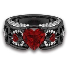 Heart Shaped Lab-created Ruby 925 Sterling Silver Angel Wing Ring for... ($159) ❤ liked on Polyvore featuring jewelry, rings, angel wing rings, heart-shaped jewelry, retro rings, heart shaped rings and ruby jewelry