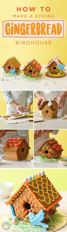 As the seasons change and the weather gets warmer build a spring gingerbread birdhouse. This beautiful and edible decoration inspired by Hallmark is one that your kids will love to make. Print out patterns instructions and recipes by clicking here! Holiday Parties, Holiday Fun, Christmas Gingerbread, Gingerbread Houses, Easter Recipes, Easter Ideas, Hoppy Easter, Food Crafts, Easy Diy Crafts
