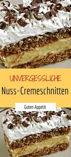 Unvergessliche Nuss-Cremeschnitten – Sprainnews Unforgettable nut cream slices – Sprainnews Related posts: Chocolate Bon Cake / Easter Cake with Nut Bottom and Chocolate Bon Cream Easy Vanilla Cake Recipe, Easy Cupcake Recipes, Chocolate Cake Recipe Easy, Easy Cheesecake Recipes, Chocolate Cookie Recipes, Chip Cookie Recipe, Food Cakes, Chefs, Smoothie Recipes