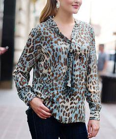 Teal Leopard Tie-Neck Top - Women