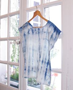 Silk Shibori blouse, handmade and plant dyed: blue-indigo, S/M size
