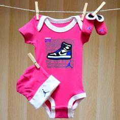 Air Jordan Baby Girl Onesie Hat Booties - Retro 123's