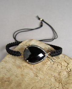 ON SALE 25% Pave Diamond Bracelet Black Onyx Gold Vermeil Macrame Friendship Bracelet