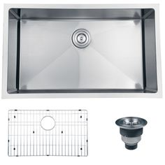 """Ruvati 16-gauge Stainless Steel 30-inch Single Bowl Undermount Kitchen Sink with Grate 