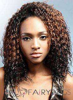 Discount Medium Curly Brown No Bang African American Lace Wigs for Women 16 Inch
