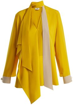 Fendi Asymmetric tie-neck silk blouse