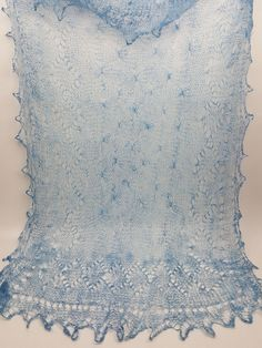 Hand knit shawl scarf ice blue mohair cobweb lace diamond pattern oblong 24X52 #Handmade #ShawlWrap