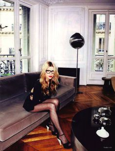 clemence poesy + swiss dot tights.