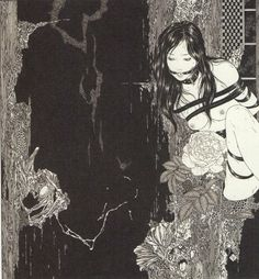 "Takato Yamamoto Takato Yamamoto is widely known for his ""Ukiyo-e Pop"" style of painting. He explores themes of darkness, bondage, vampires, metamorphosis, love and death."
