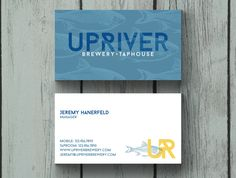 Custom business card design for Up River Brewery & Taphouse.