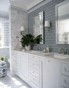 Bathroom Tile Combination. Bathroom Tile Combination. Bathroom Tile combination is hex floor tiles, grey glass subway tile and carrara marble wall tile. #bathroom #tile Heather Garrett Design
