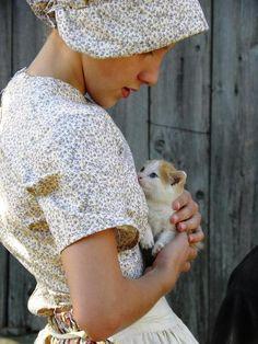 wickwareboisseau:    Pioneer Girl with Kitten by Peggy McDonald