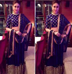 Kareena Kapoor wore Sabyasachi Mukherjee lehenga in the colour royal blue. She finished her look with a chic, pulled back bun, smoky eyes and earrings! Kareena Kapoor Lehenga, Sabyasachi Lehenga Bridal, Anarkali Lehenga, Diwali Fashion, Bollywood Fashion, Indian Fashion, Bollywood Style, Bollywood Actress, Indian Attire