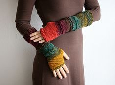 Long fingerles mittens in magical colors of the autumn - brown, teal, purple, terracotta and mustard in beautiful combinations.  Hand knit