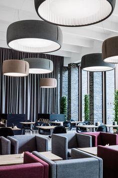 Il Charlottehaven Hotel di Copenhagen illuminato con le lampade #Silenzio di #Luceplan.