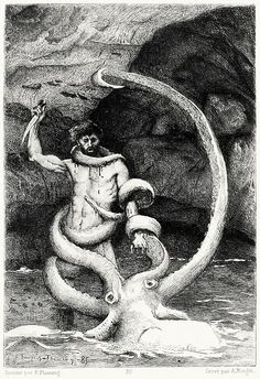 Gilliatt had thrust his arm deep into the opening; the monster had snapped at it. It held him fast, as the spider holds the fly.    François Flameng, illustration to Les travailleurs de la mer (The toilers of the sea), from Illustration des oeuvres complètes de Victor Hugo vol. 3 Paris, 1885.    (Source: archive.org)