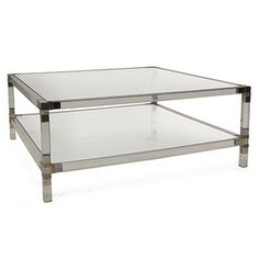 Vintage Two Tier Square Lucite Coffee Table With Chrome And Brass Corners    French, 1970u0027s
