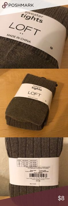Loft, Brown Ribbed Sweater Tights Loft, Brown Ribbed Sweater Tights. Size M. Shade: Medium Taupe. Content: 39% Rayon/ 37% Cotton/ 22% Polyester/ 2% Spandex Exclusive of Elastic. LOFT Accessories Hosiery & Socks