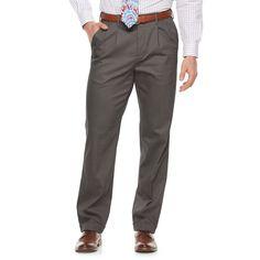 Men's Croft & Barrow® Classic-Fit Pleated No-Iron Stretch Pants, Size: 32X34, Light Grey
