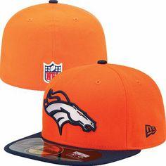 6c73832811f2 Denver Broncos Official NFL On Field 59Fifty New Era Hat (Orange) Denver  Broncos Players