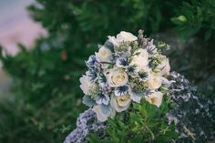 Lisianthus, thistle and rose bridal bouquet by Love In Bloom Florist, Key West