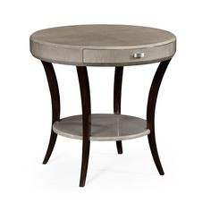Jonathan Charles Art Deco Round Side Table with Drawer and Stainless Steel Handle
