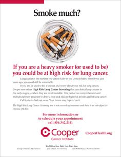 If you're a heavy smoker( or used to be) you could be at high risk for #lungcancer. Cooper now offers High Risk Lung Cancer Screenings. To learn more visit http://www.cooperhealth.org/departments-programs/cancer-institute/high-risk-lung-cancer-screening-program