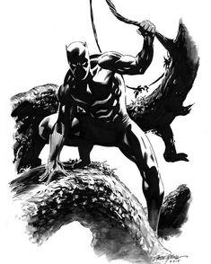 Original Comic Art titled Black Panther by Steve Epting, located in Edd's Avengers Assemble! Black Panther Comic, Black Panther Costume, Black Costume, The Avengers, Marvel Comics Art, Marvel Films, Batwoman, Comic Books Art, Comic Art
