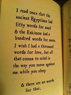 I read once that the ancient Egyptians had fifty words for sand & the Eskimos had a hundred words for snow. I wish I had a thousand words for love, .... (Brian Andreas)