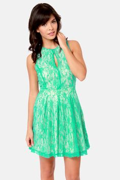 sea green lace dress.