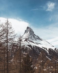 The majestic Matterhorn as seen from Zermatt. Summer is right around the corner but this mountain stays cool all year long. Zermatt, Stay Cool, Mount Rainier, Around The Worlds, Mountains, Photo And Video, Switzerland, Corner, Photography